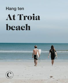 Hang ten at Troia beach