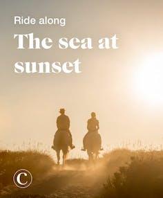 Ride along the sea at sunset