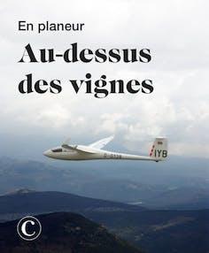 En planeur au-dessus des vignes