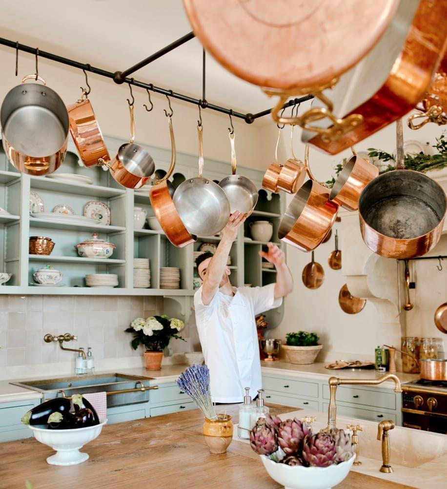 Chef grabbing a pan