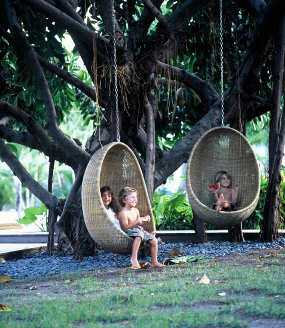 Children on egg chair hanging on a tree